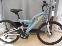 ADULT LADIES GOOD QUALITY TRAX SANTA AVA FULL SUSPENSION MOUNTAIN BIKE WITH DISC BRAKES IN VGC
