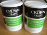 2 x 5ltr Tubs CROWN TRADE COVERMATT EMULSION PAINT - Soft Cream - High Obliterating Cover