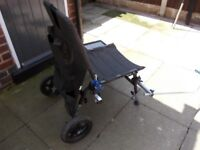 Fishing chair with wheels plus two rods
