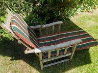 Sun Lounger/Steamer Chair genuine antique oak - folding with cushion, foot rest and plastic cover.