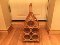 Vintage, retro wicker wine rack.