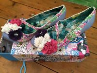 Brand new Irregualr choice blue patterned heels