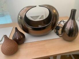 NEXT bronze lamp and matching vases