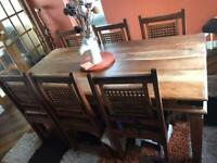 6 seater Jali sheesham solid wood dining table