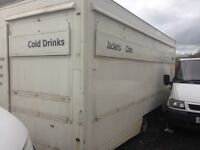 Catering trailer/snack bar, tri-axle, 20ft long, detatchable hitch, needs tlc £2650 kilmarnock