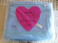 NEW, Double Vintage Blue Cellular Blanket (Brentford Nylons). 70 x 90In the original bag..