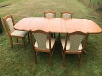 Solid pine extending table with 5 chairs