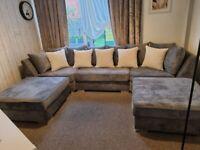 Title: Ashwin U-Shape sofa in Black Grey and Pink in Scatter Back (Plus Velvet in Heigh Back)