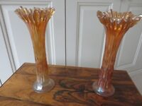 Two tall antique flower vases with attractive iridescent finish.
