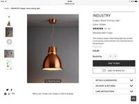Stunning brand new boxed Habitat Industry light, copper colour