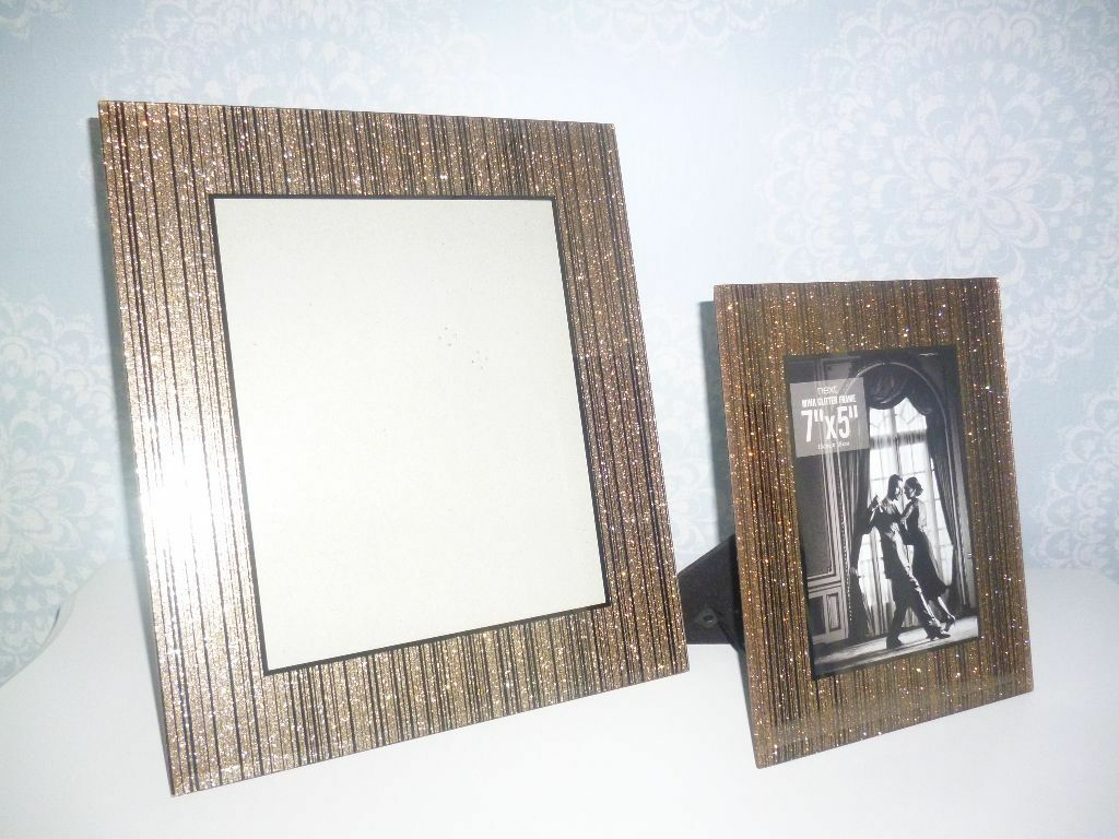 ec9a5500a38d From Next Gold Glitter Sparkle Glass Photo Picture Frames In