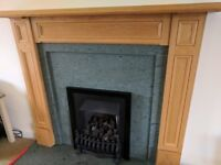 Fireplace surround, marble hearth and coal effect gas fire