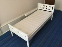 Bed frame with slatted bed base KRITTER, foam matress, Ikea