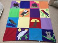 Play mat or blanket with Australian animals in washable fleece material