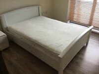 White Harvey's Double Bed with mattress and memory foam topper