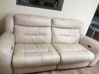 Double electric recliner leather settee
