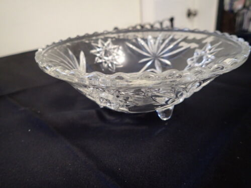 """EAPG 3-Footed Candy Dish Stars & Daisies with Scalloped Edge 6 3/4"""" LM26"""