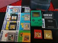 Original Gameboy In Green Rare With 10 top games 2 pokemon/ mario / Donkey kong & more