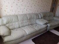 Real Leather Sofas, sage green colour, 2 seater and 3 seater, must sell together.