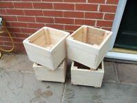 square wood planters £5 EACH