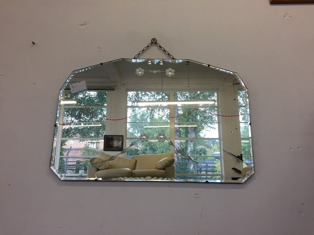 Vintage Mirror Beveled Deco 1930 S 1940 Mid Century Etched Engraved Fl Chain