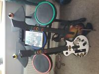 Wii Guitar Hero and Drum Kit Set