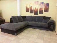 Black and Grey Left Arm Corner Sofa