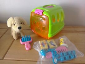 Toy pet dog and vet set with carry case Nearly New