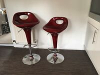 Red kitchen bar stools height adjustable, never used