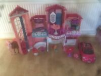 Barbie house, car and horse