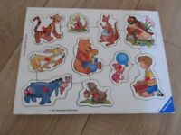 WOODEN WINNIE THE POOH PUZZLE FOR BABY / TODDLERS with handles - IMMACULATE!
