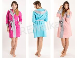 WOMENS HOODED BATH ROBE LADIES DRESSING GOWN HOUSECOAT with BELT size S-XXL - <span itemprop='availableAtOrFrom'>Bialystok, Polska</span> - WOMENS HOODED BATH ROBE LADIES DRESSING GOWN HOUSECOAT with BELT size S-XXL - Bialystok, Polska