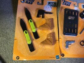 action man accessories, some wear to packaging polar mission urban new toys