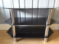 TV Stand-Black glass with chrome legs