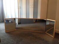 Large 'malm' light oak/beech folding dressing table mirror
