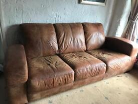 DFS Brown Leather Sofa 3 Seater