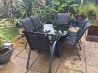 Black Glass Table & 6 Chairs : SOLD
