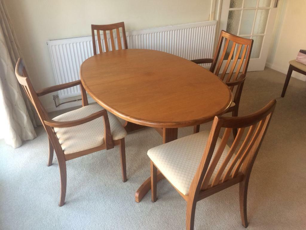 G Plan Dining Room Table And Chairs Plus Display Cabinet