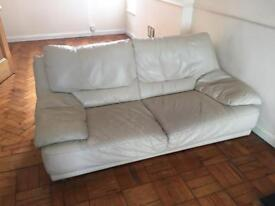 Cream Faux Leather Sofa - Collection Only
