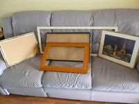 five photo frames,all mixed sizes,two with glass & three without glass,selling all for only £9......