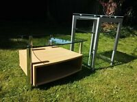 Glass Side Table & Glass Coffee Table (Pair)