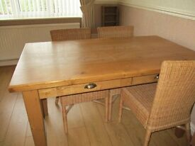 FARMHOUSE PINE WAXED TABLE AND FOUR RATTAN CHAIRS
