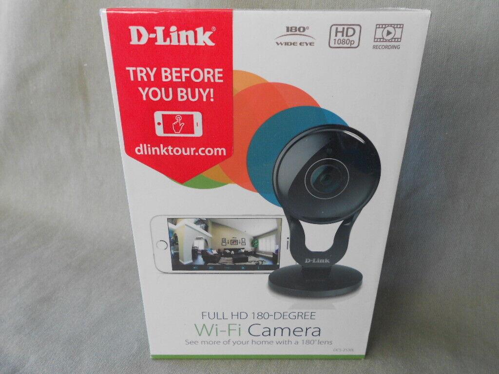 D-link - Wide Lens Indoor Wi-fi Security Camera - Black