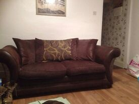 Brown and leather green cushion