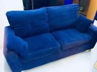 2 seater fabric blue sofa - pet & smoke free - not too heavy - covers washable