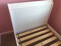 Single Sleigh Bed white wood