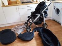 Silver Cross 3D pram and many extras. Excellent Condition.