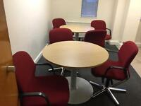 8 X round tables and chairs 100cm diam. Delivery.