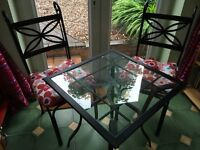 Metal table and 2 chairs