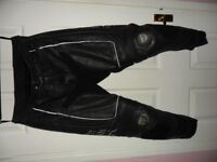 RST leather motorcycle trousers